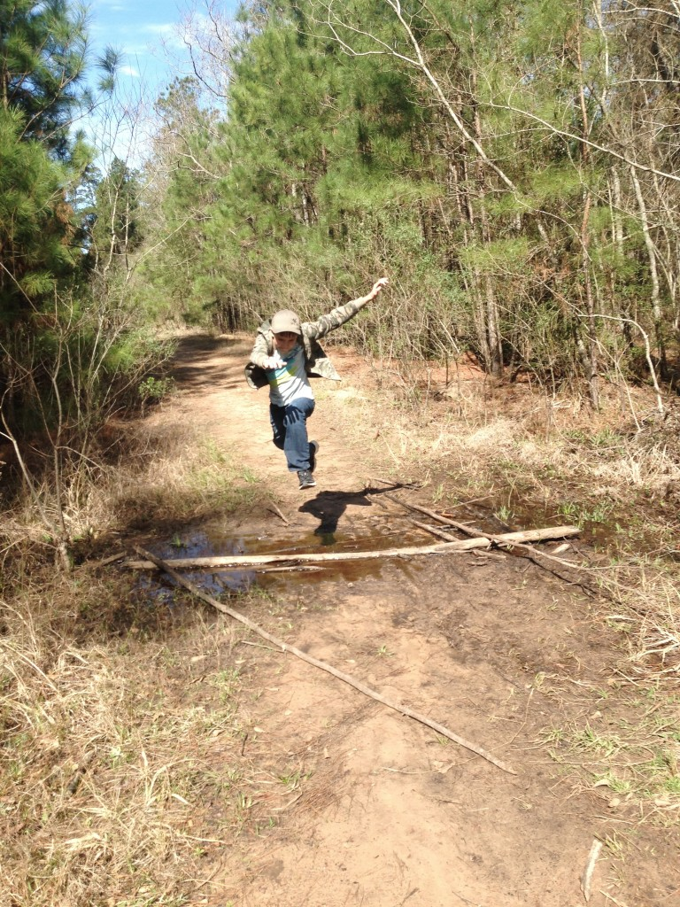 jumping on trail